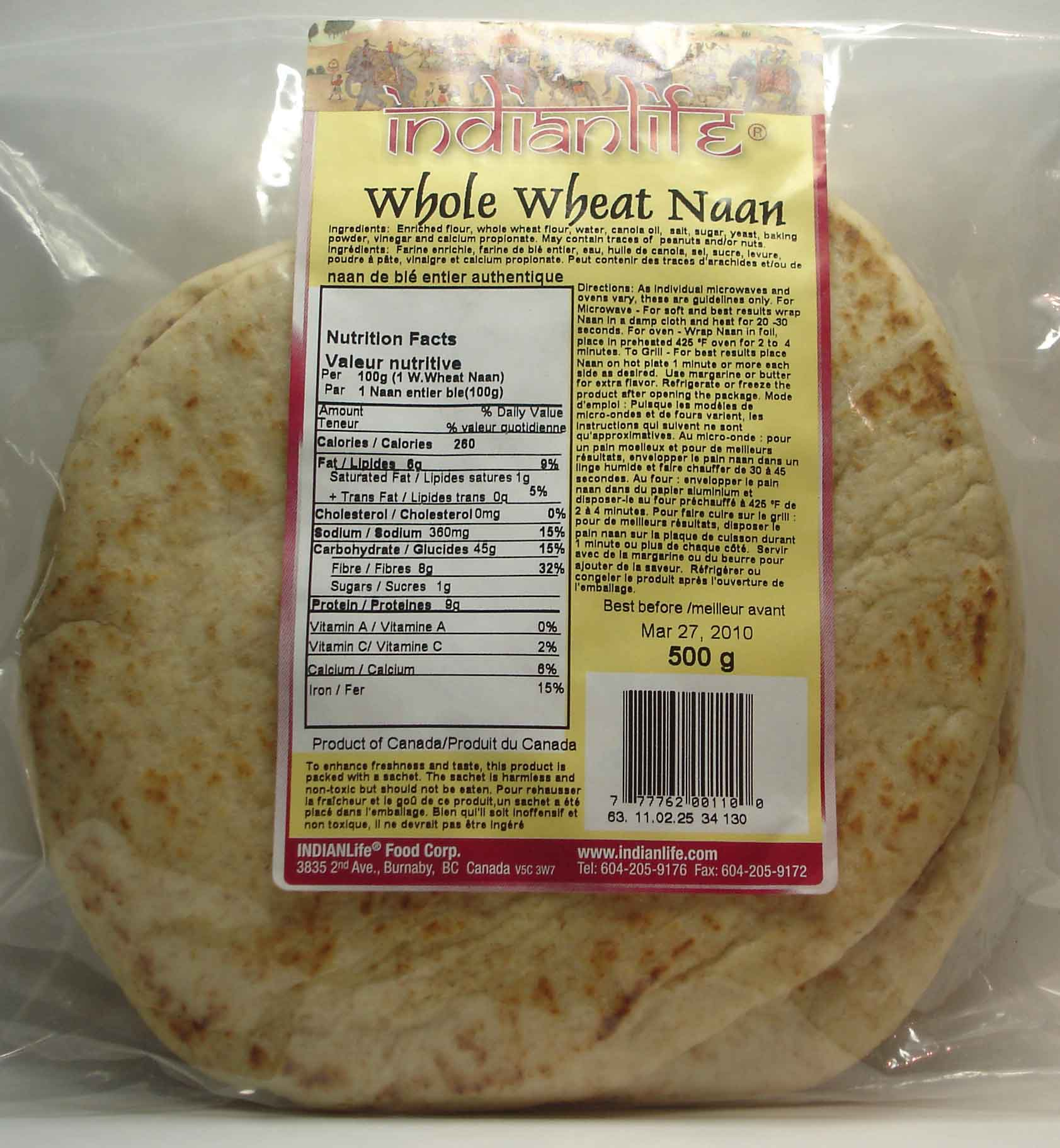 Onion Naan Indianlife Foods Inc